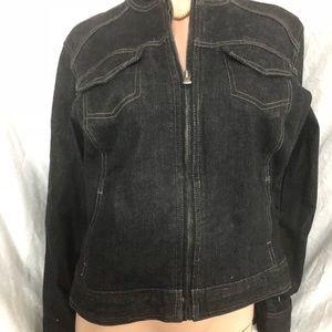 Chico's platinum size 2 jean zip up jacket